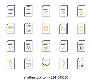 Document Management line icons. Set of Report, Checklist and Copy icons. Download file, Remove and Attach clip symbols. Search, Edit management document and Corrupt report file. Checklist copy