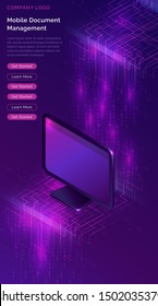 Document manager business concept vector isometric illustration. Computer monitor on purple ultraviolet background with information waterfall or big data stream, vertical banner or landing webpage