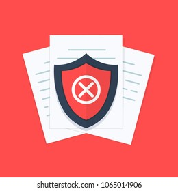 Document not protected concept, confidential information and privacy idea, security documentation access or not protected, secure data with paper. Flat design, vector illustration on background