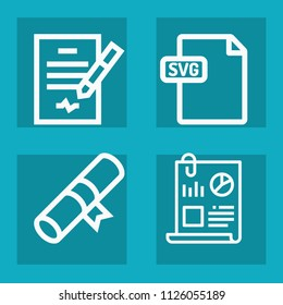 Document outline set of vector icons such as certificate, svg, contract