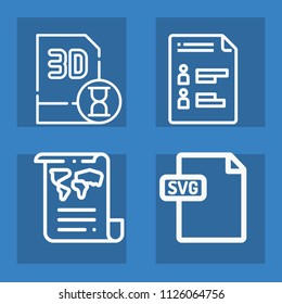 Document outline set of vector icons such as svg, document