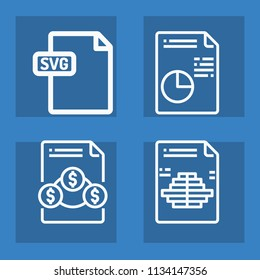 Document outline set of vector icons such as svg