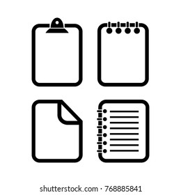 Document outline vector icons set illustration isolated on white background