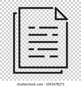 Document paper icon in flat style. Terms sheet illustration on isolated transparent background. Document analytics business concept.