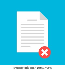 Document paper sheet  page with claim form, check mark cross, text icon sign vector illustration. Symbol of no doc confirmation, delivery, verification flat design concept isolated on blue background.