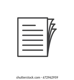 Document papers pile line icon, outline vector sign, linear style pictogram isolated on white. Symbol, logo illustration. Editable stroke