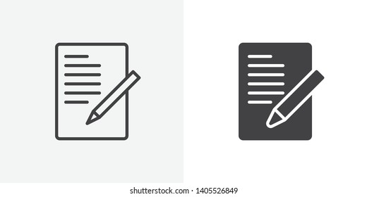 Document with pen, form icon. line and glyph version, Sheet of paper and pencil outline and filled vector sign. linear and full pictogram. Symbol, logo illustration. Different style icons set