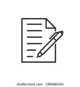 Document with pen icon in flat style. Notepad vector illustration on white isolated background. Office stationery business concept.