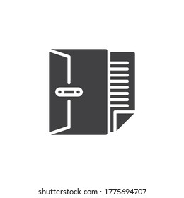Document with pen vector icon. filled flat sign for mobile concept and web design. Bank envelope mail glyph icon. Symbol, logo illustration. Vector graphics
