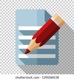 Document and pencil icon in flat style with long shadow on transparent background