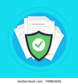 Document protection concept, confidential information and privacy idea, security documentation access or documents safety, secure data with paper doc roll and guard shield vector illustration flat