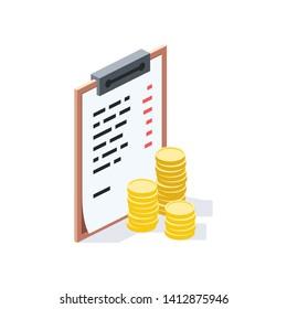 Document purchase list, invoice isometric illustrate 3d vector icon. Creative design idea.