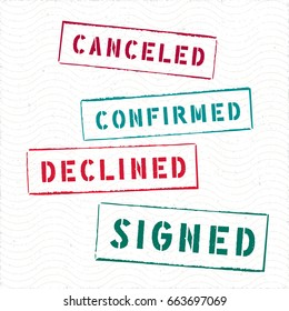 Document Rectangle Stamps Canceled Confirmed Declined Signed Vector Collection - Pad Ink Colored Letters and Frames on White Wavy Texture Background - Rubber Stamp Design