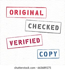 Document Rectangle Stamps Checked Copy Original Verified Vector Collection - Pad Ink Colored Letters and Frames on White Wavy Texture Background - Rubber Stamp Design