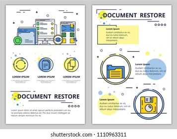 Document restore web banner, poster, flyer, leaflet, brochure template. Vector modern thin line art flat style design illustration.