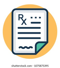 A document with rx sign representing prescription