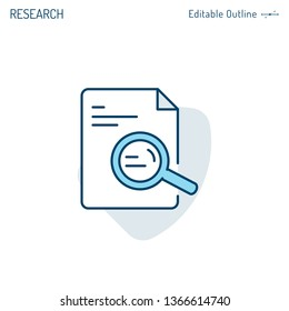 Document search icon, Investigate and analyse contract details, Magnifying Glass, Corporate Business office files, Editable stroke