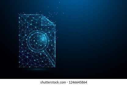 Document search linear icon form lines, triangles and particle style design. Illustration vector
