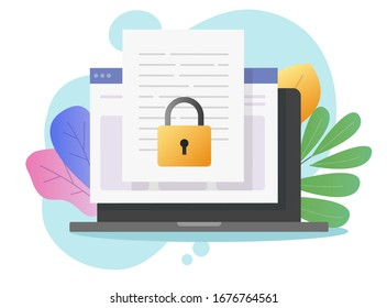 Document secure confidential online access on computer laptop or internet web privacy protection on text file vector flat cartoon, concept of private secret website data lock modern design colorful