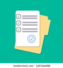 Document with signature, text. Folder and stack of papers. Law, contract concept. Vector flat design