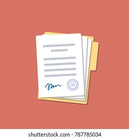 Document with signature and text. Isolated vector illustration. Folder and stack of white papers. Flat design.