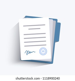 Document with signature and text. Stack of white papers. Isolated vector illustration in flat design.