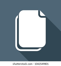 document simple icon. White flat icon with long shadow on background