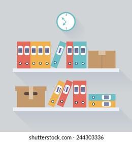 Document Storage Shelves, Flat Vector Illustration