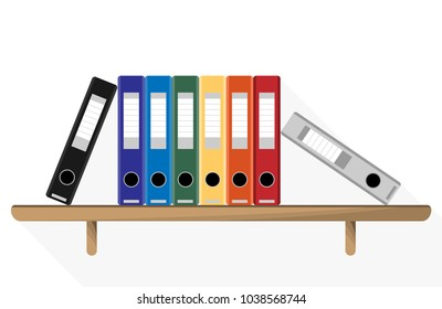 Document Storage Shelves with set of colored ring binders on white background. Office folders, Flat Vector Illustration.