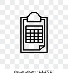 Document with Tables vector icon isolated on transparent background, Document with Tables logo concept