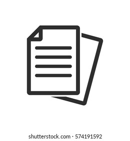 Document vector icon. Black illustration isolated on white background for graphic and web design.