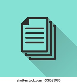 Document vector icon with long shadow. Illustration isolated for graphic and web design.