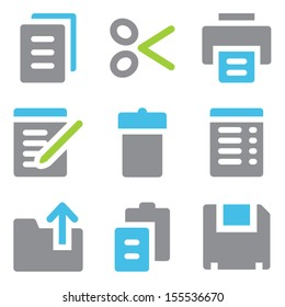 Document web icons blue green series