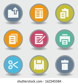 Document web icons, color circle buttons