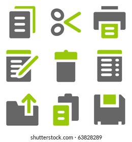 Document web icons, green grey solid icons