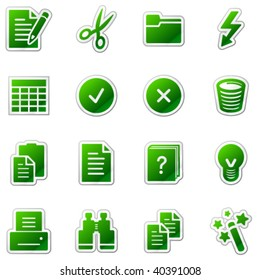 Document web icons, green sticker series