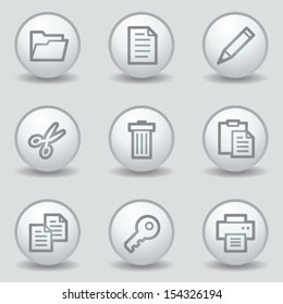 Document web icons set 1, circle white matt buttons