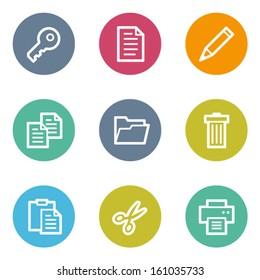 Document web icons set 1, color circle buttons