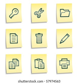 Document web icons set 1, yellow notes series
