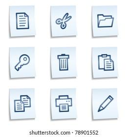 Document web icons set 1, blue notes