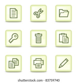 Document web icons set 1, salad green buttons