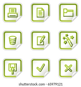Document web icons set 2, green stickers series