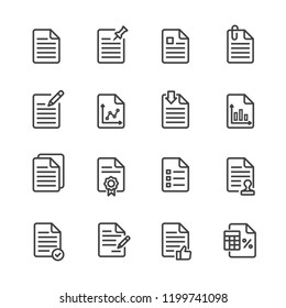 Document web line icon set