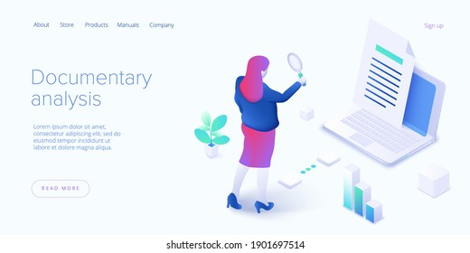 Documentary analysis in isometric vector illustration. Document qualitative research with woman looking through magnifier. Web banner layout.
