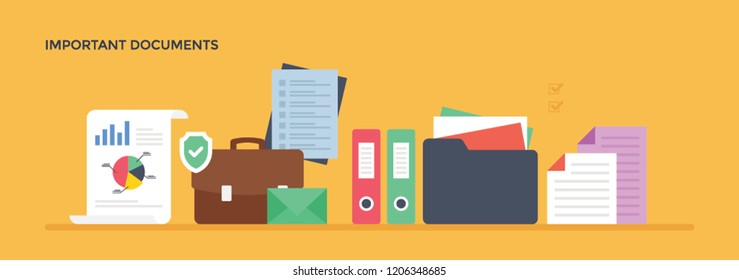 Documents arranged in file depicting important documents