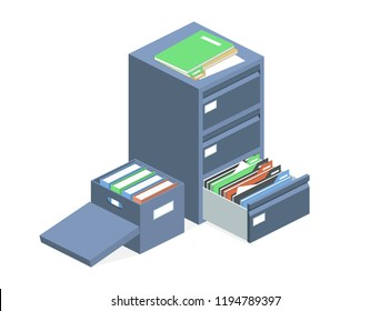 Documents cabinet and file archive storage box vector illustration. Isolated isometric business folders storage carton container and metal safe cabinet drawer
