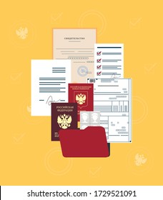Documents of a citizen of Russian Federation: passport, foreign passport, pre-tax declaration, various applications, photo. Translation from Russian: Russian Federation, Passport, certificate