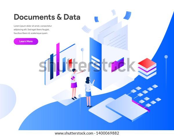 Documents Data Isometric Illustration Concept Modern Stock