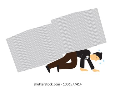 Documents falling on top of businessman. Concept of overwork, office culture or corporate sabotage. Isolated vector illustration.