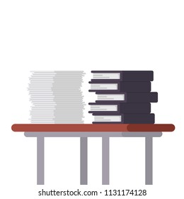 Documents and file folders on the table vector illustration